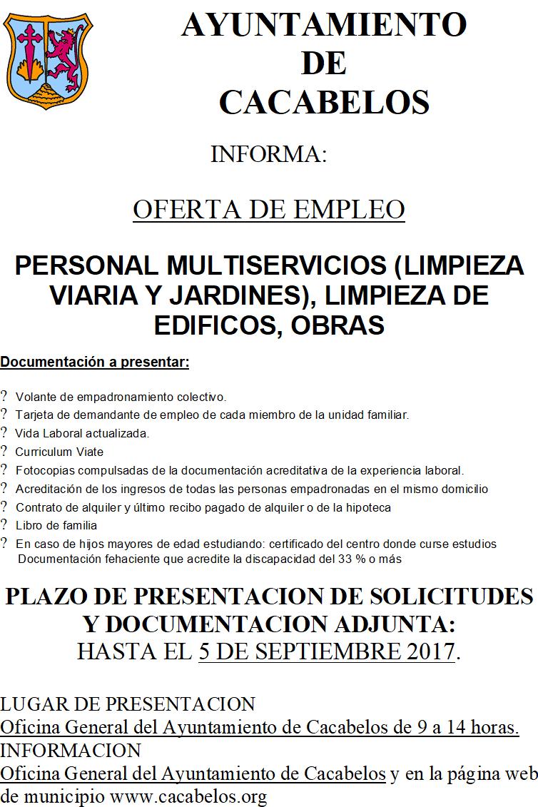 9bc795e31cbf7 Publicadas las actas de los resultados de la baremación. OFERTA DE EMPLEO