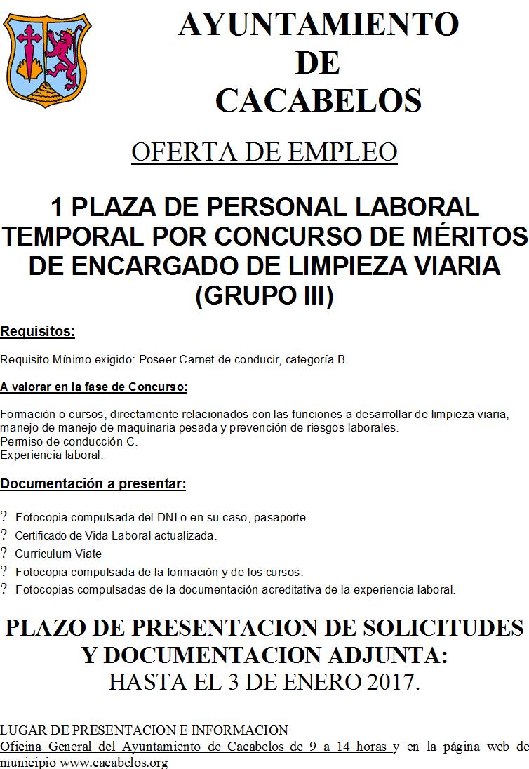 2af525fbdb302 Oferta de empleo  Encargado de limpieza - Ayuntamiento de Cacabelos